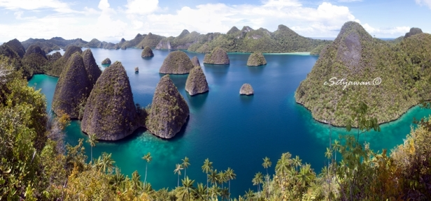 Wayag Islands, a group of limestone karst, is located in the northwest part of Raja Ampat Islands, West Papua, Indonesia